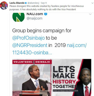 laolu Yemi Osinbajo Not Coming Out For President In 2019 News