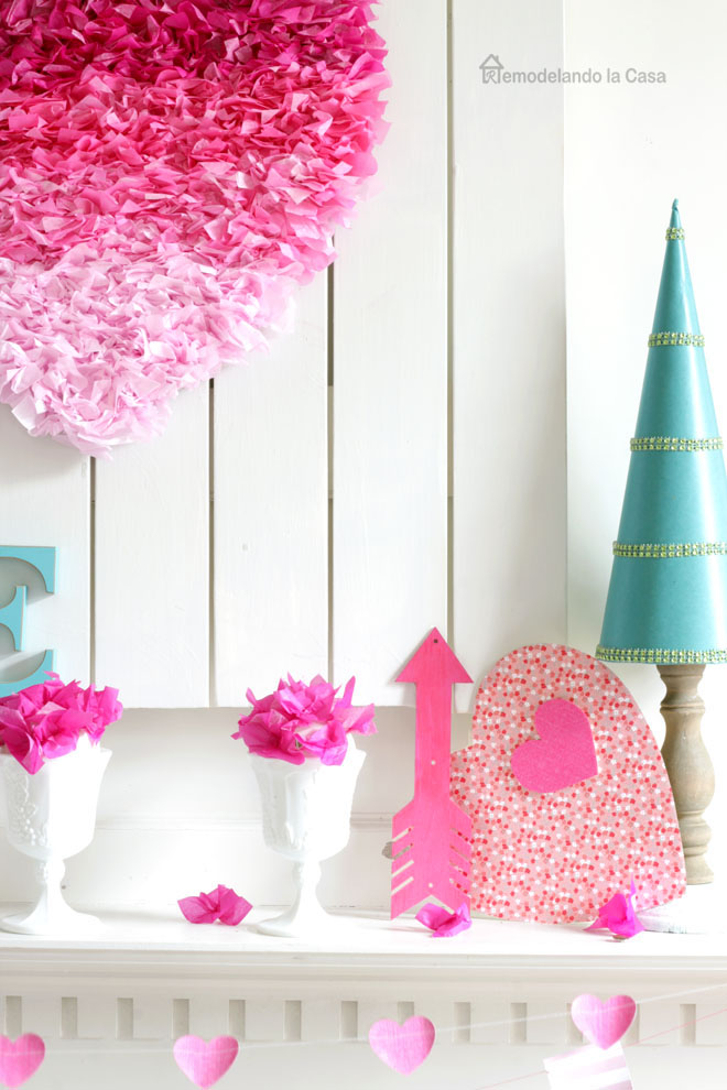 ombre pink tissue paper heart, blue paper tree, paper flowers