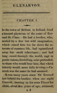 Opening page of Glenarvon   by Lady Caroline Lamb (1816)