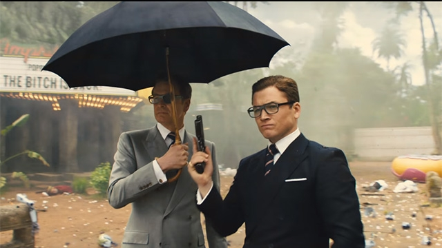 Colin Firth as Harry and Taron Egerton as Eggsy in 'Kingsman