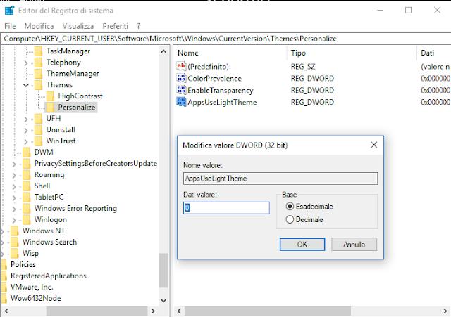 Windows 10, Attivazione/Disattivazione tema scuro tramite registro di sistema