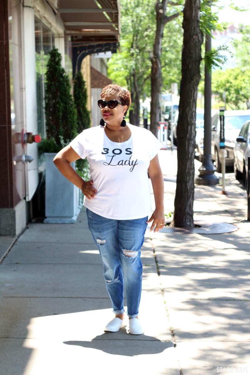 a black woman walking downtown Minneapolis