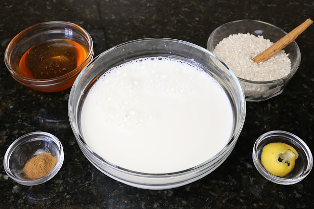 Ingredientes para arroz con leche y miel