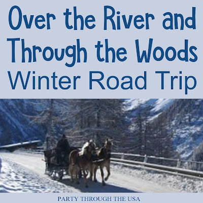 Winter Themed Road Trip // Party Through the USA // snow // snowman // party foods // road trips with kids // car trip activities for kids // travel food // winter drinks // winter party food