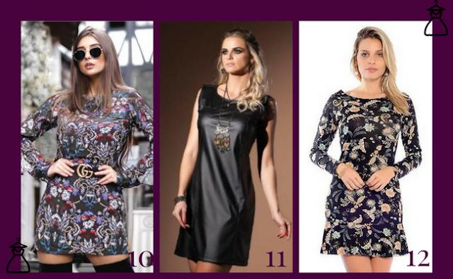 Vestidos estampados curtos (modelos 10, 11 e 12 )