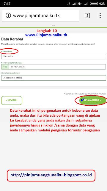 J.Gambar langkah 10 pengajuan pinjaman uang tanpa jaminan via link web promo tunaiku www.Pinjamtunaiku.tk