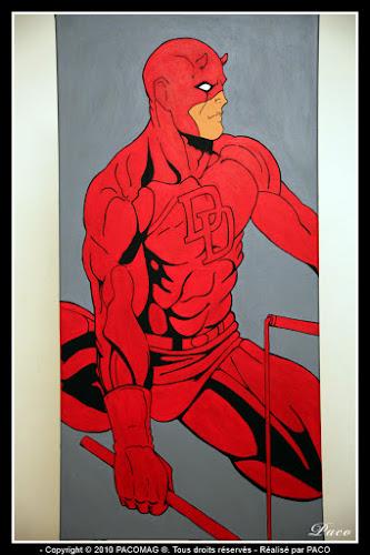 Finition Daredevil sur toile Par Paco illustrateur graphiste, artiste peintre