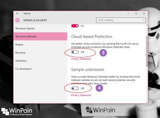 mematikan cloud based protection dan sample submission di windows 10