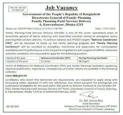 Directorate General of Family Planning DGFP Job Circular 2019