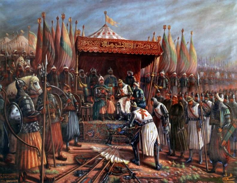 Perang Hattin dimenangkan oleh Umat Islam karena Kebodohan Umat Kristen yang memaksa menghalau bala tentara Islam dari Damaskus Kerak dan Ibelin