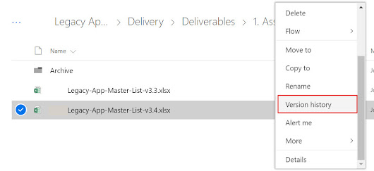 Version control in Office 365