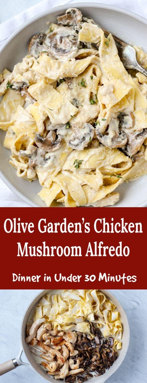 Chicken Mushroom Fettuccine Alfredo