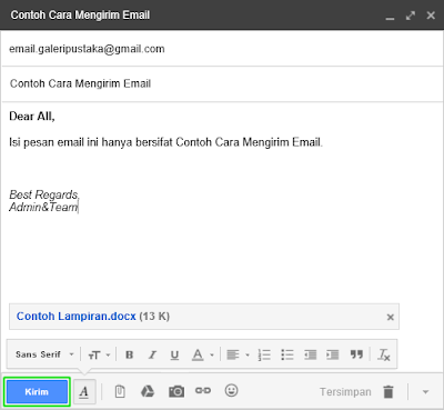 Contoh Pengisian Form Pesan Email Baru