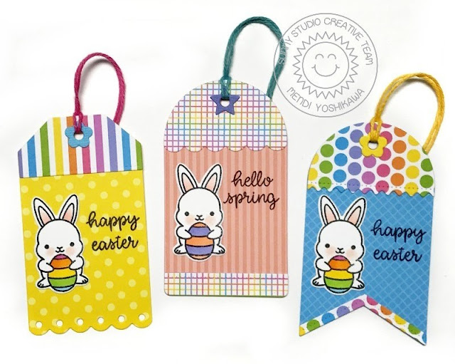 Sunny Studio Stamps: Chubby Bunny Easter Tags (using Build-A-Tag Dies & 6x6 Pastels Paper Packs)