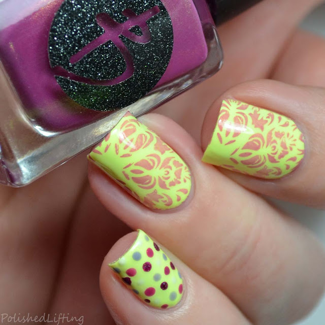 abstract neon snowflake stamping nail art