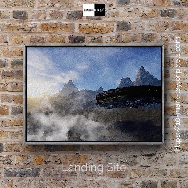 Landing site, ufo art, mark taylor, pixels, artist