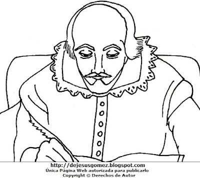 Dibujo de William Shakespeare para colorear, pintar o imprimir. Dibujo de William Shakespeare de Jesus Gómez