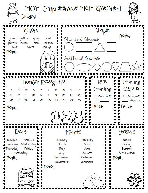 Kindergarten Assessment Worksheets