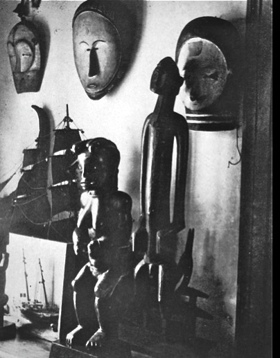 studio of André Derain, Paris studio of André Derain, Paris studio of André Derain, 1912, 1913, African masks, African sculptures, African art, studio art