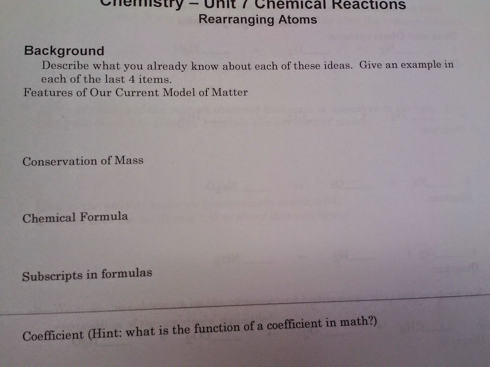A Year Of Science Modeling Instruction Unit 7 Chemical