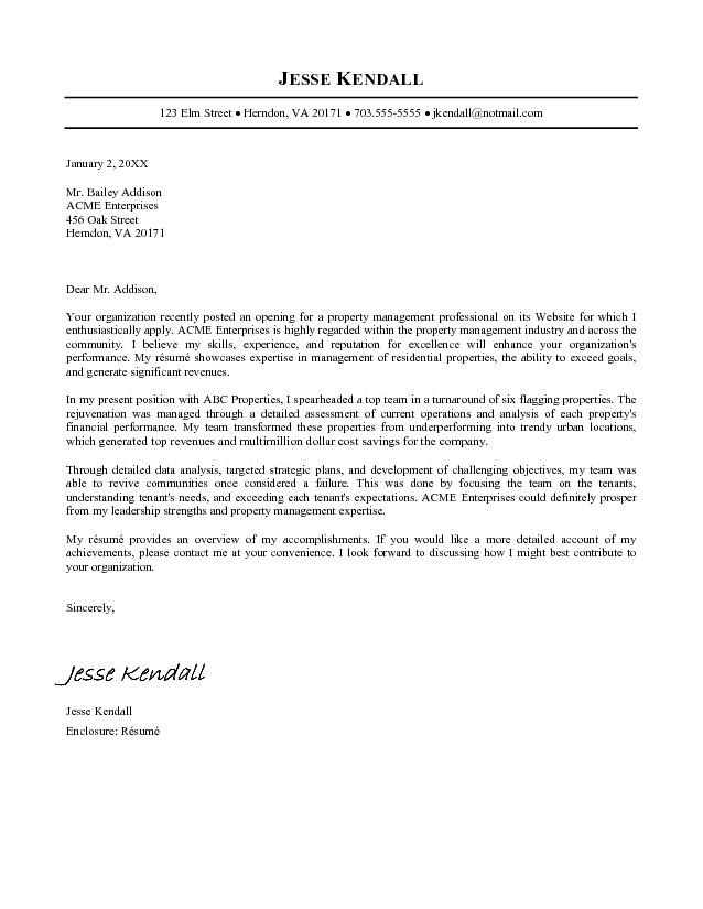 Example of a resume letter