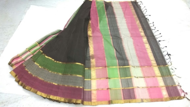 Black color Mangalagiri Cotton sarees