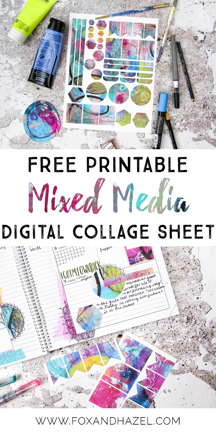image regarding Free Printable Collage Sheets identified as Free of charge Combined Media Electronic Collage Sheet - Fox + Hazel
