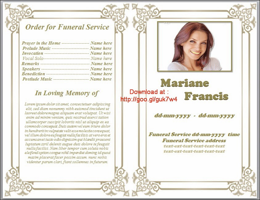 Free Printable Funeral Program Template Download For MS Word | Free ...