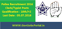 Police Recruitment 2016 for Clerk/Typist Posts Apply Online Here