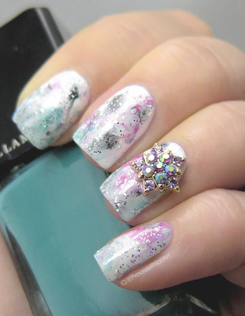 Nail Art // Smoosh Mani with Iridescent Metal Star Charm ...