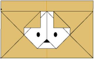 Bước 10: Vẽ mắt, mũi để hoàn thành cái phong bì, phong thư hình con chó đẹp mắt