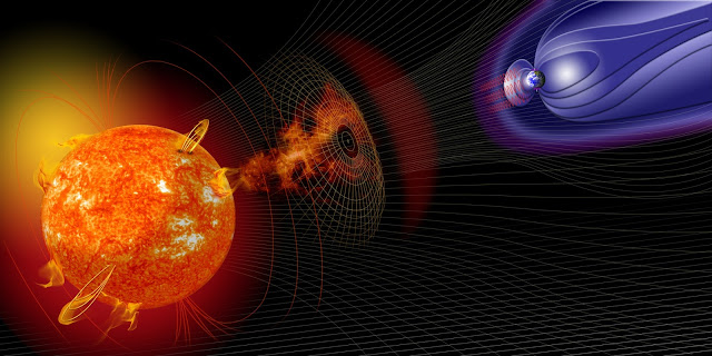 Vue d'artiste d'une éjection de masse coronale impactant la magnétosphère de la Terre
