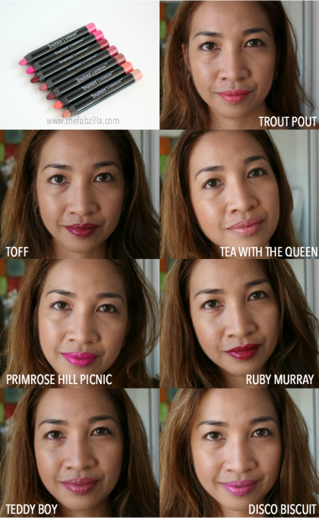 BUTTER LONDON LIPPY BLOODY BRILLIANT LIP CRAYON, REVIEW,SWATCH, TROUT POUT, TOFF, TEA WITH THE QUEEN, PRIMROSE HILL PICNIC,RUBY MURRAY,TEDDY BOY, DISCO BISCUIT