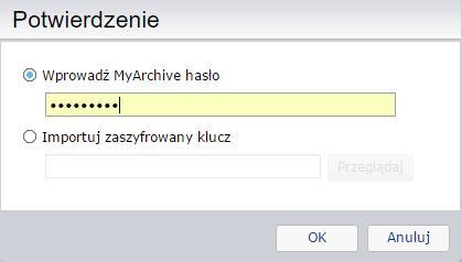 Prośba o podanie hasła lub zaszyfrowanego klucza przy próbie zamontowania dysku MyArchive w systemie ADM