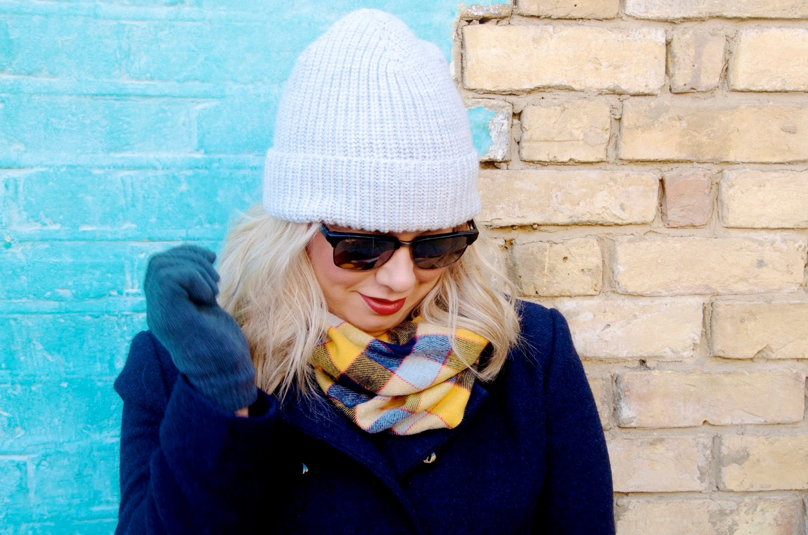 plaid scarf and knit hat