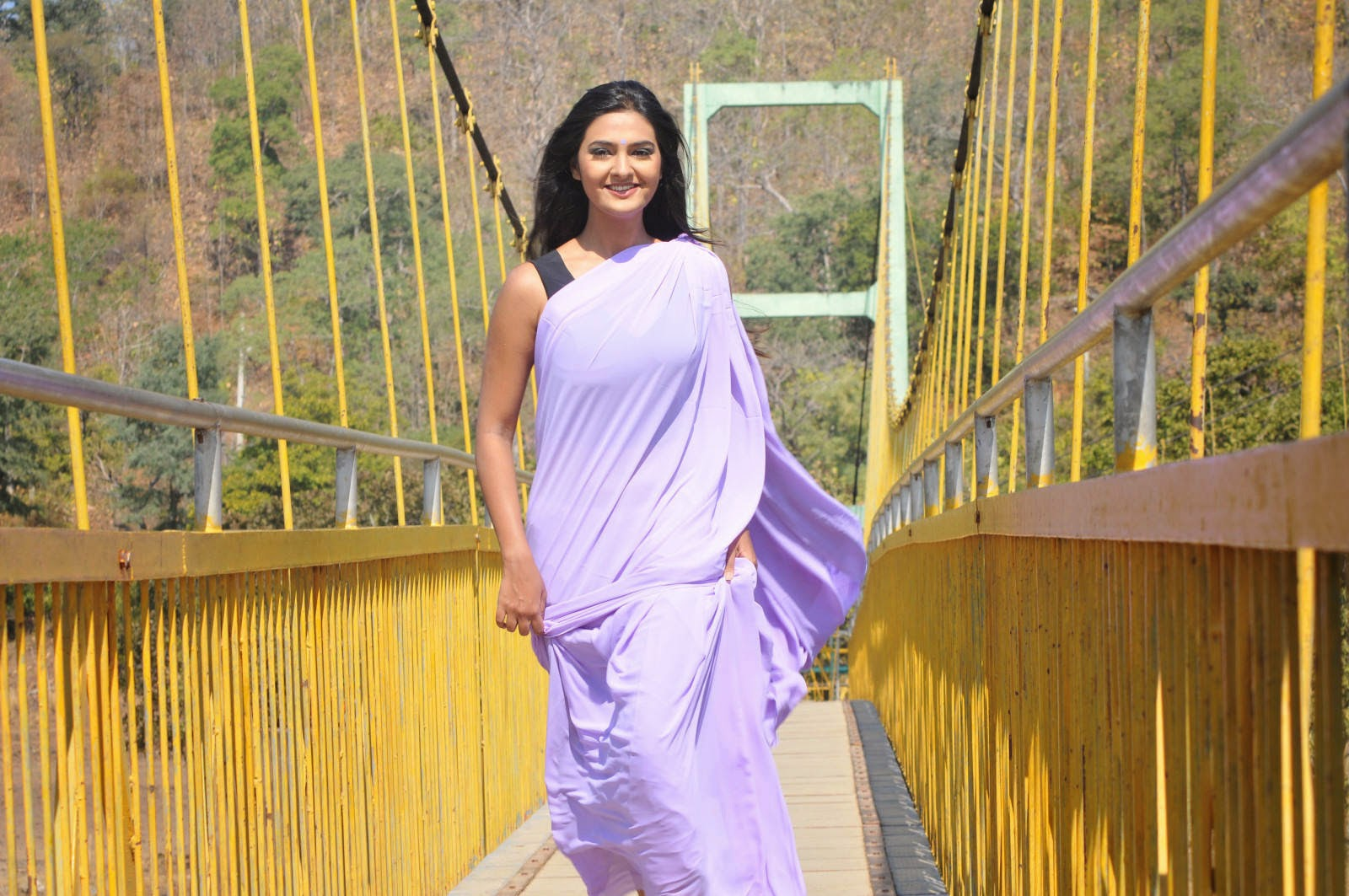 Neha Deshpande Stills in Violet Saree From The Bells Movie, Neha Deshpande Sare HD Wallpapers from The Bells Movie
