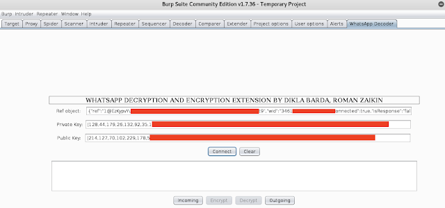 Configurando la extensión de Burp para descifrar el tráfico de WhatsApp imagen