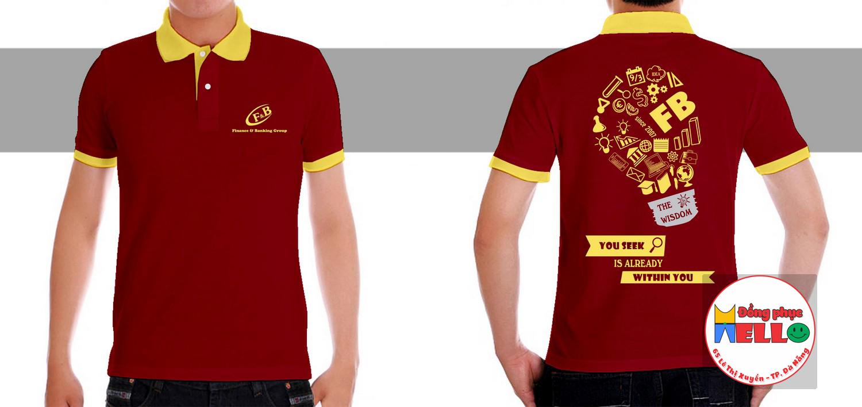 mẫu đồng phục cổ bẻ màu đỏ phối vàng
