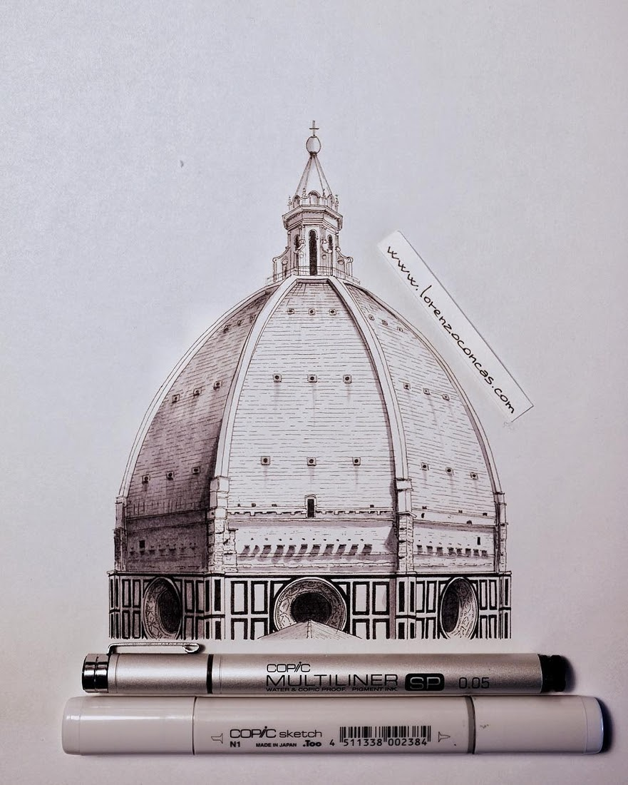 12-Cupola-di-Santa-Maria-del-Fiore-Lorenzo-Concas-Churches-and-Cathedrals-Urban-Architectural-Drawings-www-designstack-co