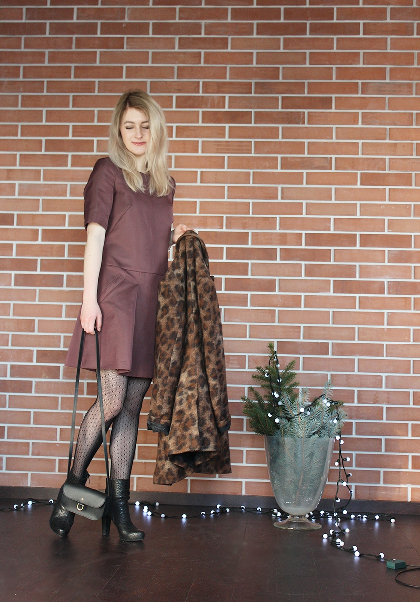fashion blog blogger dress - Simple tights - Marilyn coat - second hand boots - Gino Rossi bag - Batycki simplythebest.co simplythebest.pl