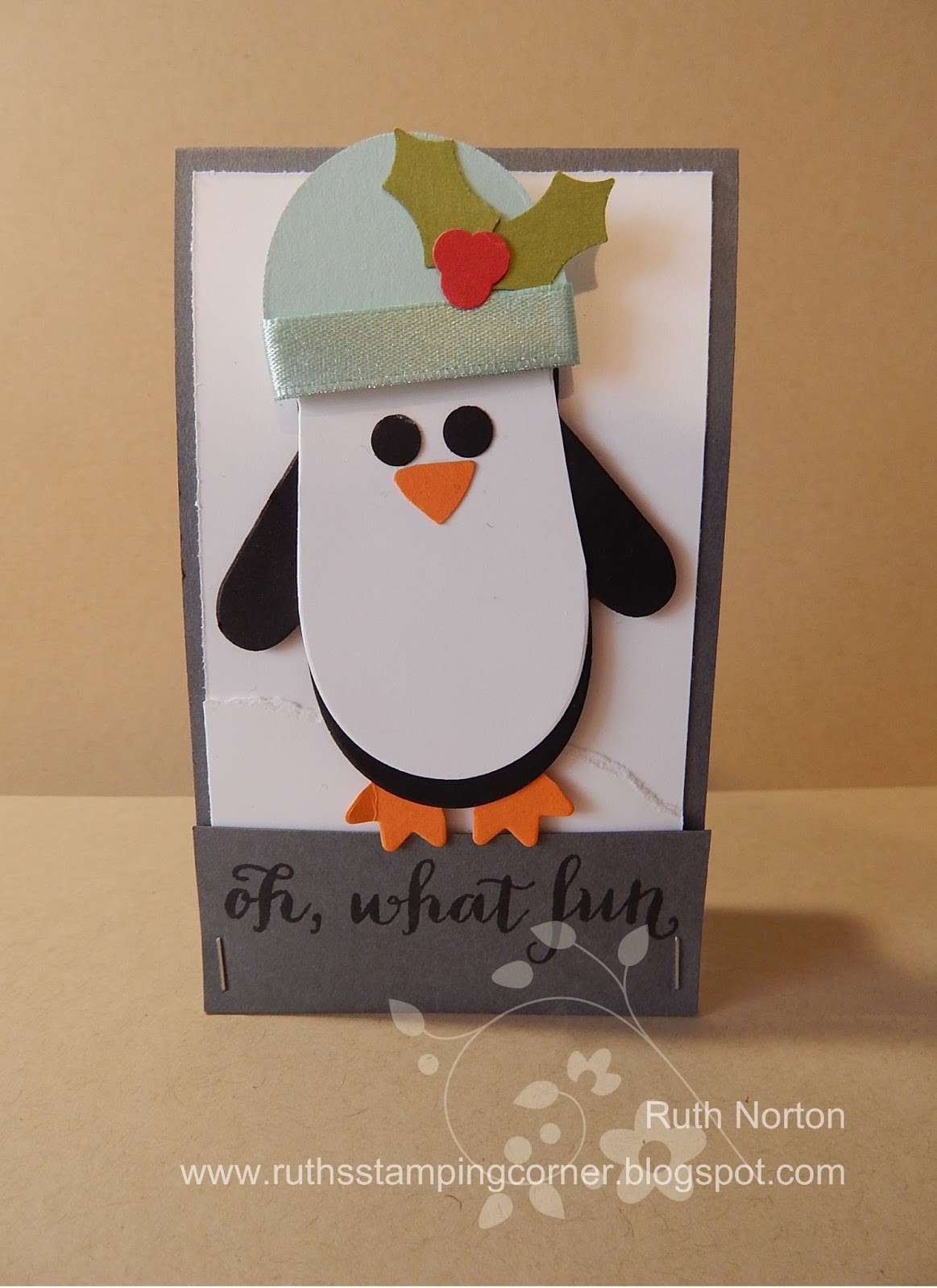 Ruths stamping corner christmas gift card holder class finally the last holder is probably my favorite isnt that penguin super duper cute i love him shannon west demoed how to make this penguin at my m4hsunfo