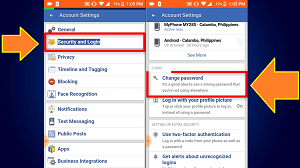 How to change fb password using android phone