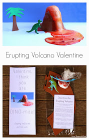 Just-add-water Erupting Volcano Dinosaur Valentine from Fun at Home with Kids