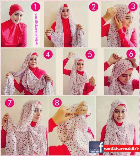 cara memakai jilbab segi empat