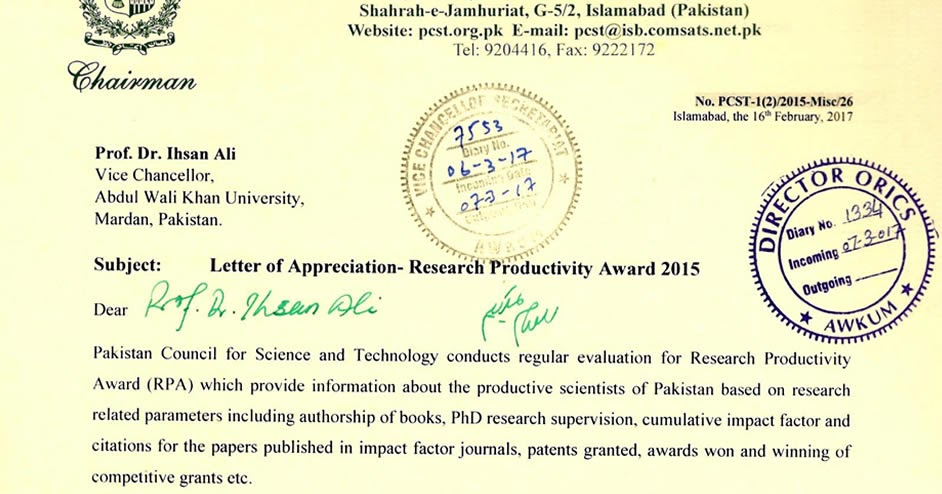 Abdul wali khan university mardan letter of appreciation research abdul wali khan university mardan letter of appreciation research productivity award 2015 spiritdancerdesigns Images