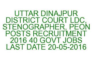 UTTAR DINAJPUR DISTRICT COURT LDC, STENOGRAPHER, PEON POSTS RECRUITMENT 2016 40 GOVT JOBS