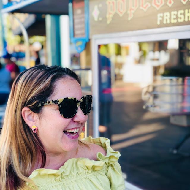 #BoundtoParkHop, Instagram photo challenge, clothing challenge, Disneyland, Disney bounding, Disney bounds, Jamie Allison Sanders, Favorite Park Snack, popcorn, popcorn cart, Femme de Bloom popcorn earrings