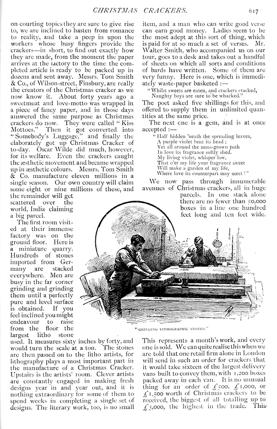 Grinding Lithograph Stones for Christmas cracker production - Strand Magazine  - Published December 1891