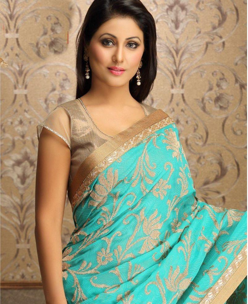 Hina Khan Hot Sext Tight Saree Pants Figure Body Sweet -8889