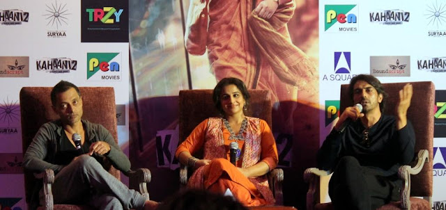 Sujoy Ghosh, Vidya Balan, and Arjun Rampal promote Kahaani 2 in Delhi